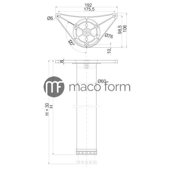 Noga za sto INNOVO ∅60 x 1100mm – Tehnički podaci
