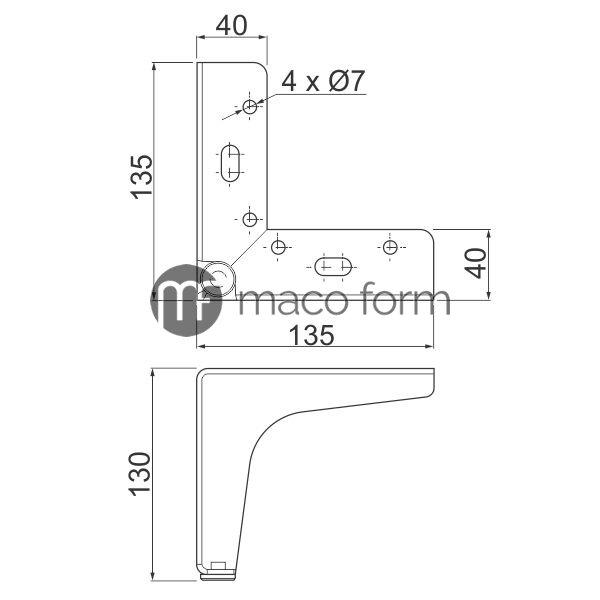 Nogica STGY H130, 135×135 – Tehnicki podaci