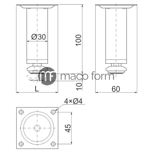 nogica-HS-H100-fi30-hrom-tehnicki-podaci