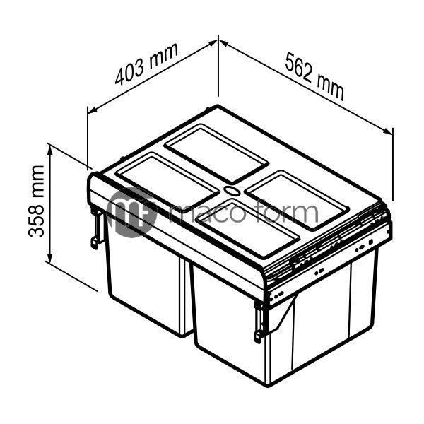 Kanta za smeće, 2X27L, ANTRACIT, H-358mm-teh