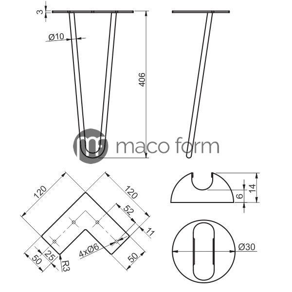 Noga ARTO crna 2 sipke H406- tehnicki podaci
