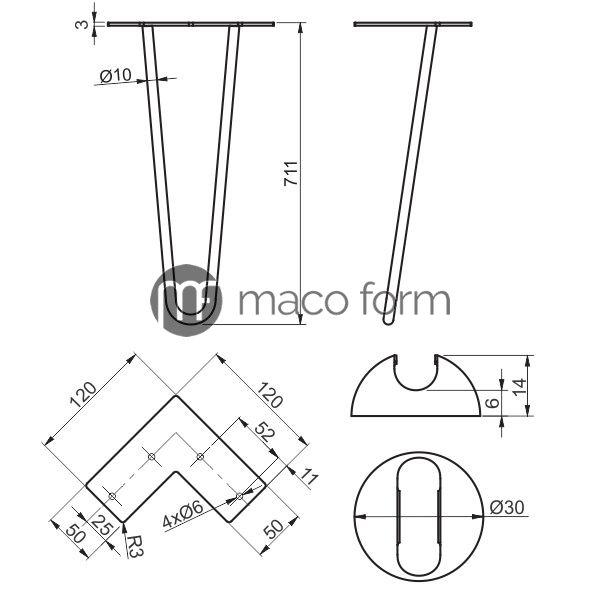 Noga ARTO crna 2 sipke H711- tehnicki podaci