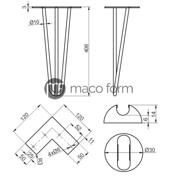 Noga ARTO crna 3 sipke H406 – tehnicki podaci