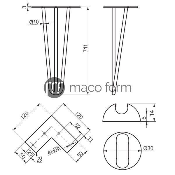 Noga ARTO crna 3 sipke H711 – tehnicki podaci