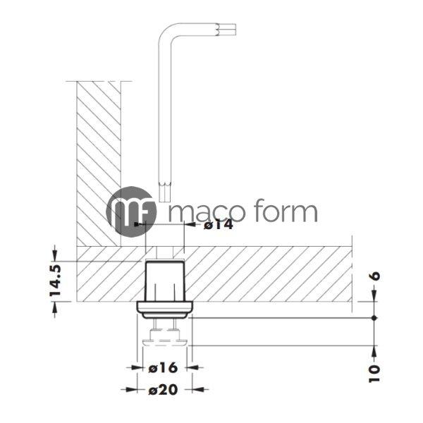 Nogica plasticna, ukopavajuca, 14,5mm-fi16-teh