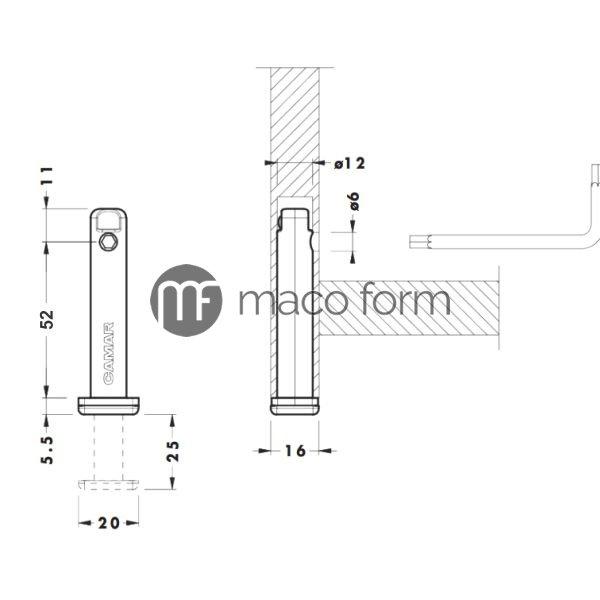 Nogica podesavajuca 306,05, fi12, h52mm-teh