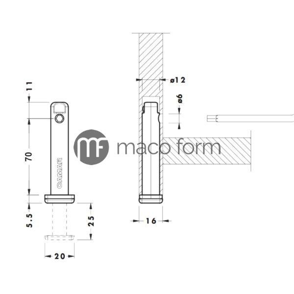 Nogica podesavajuca 306,07, fi12, h70mm-teh